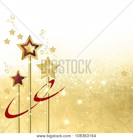 Gold star background with gradient to white