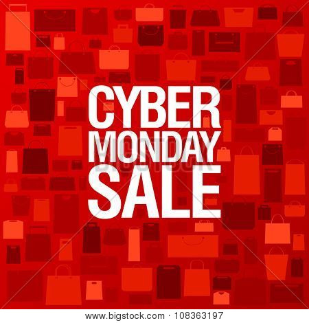 Syber monday sale poster against red backdrop with shopping bags.