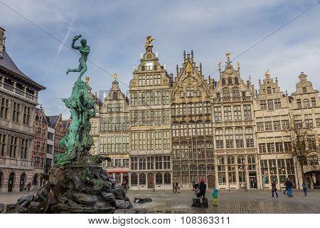 ANTWERP, BELGIUM - OCTOBER 31, 2013: Grote Markt, Antwerp, Belgium