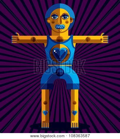 Avant-garde Avatar, Colorful Drawing Created In Cubism Style. Modernistic Geometric Portrait, Vector