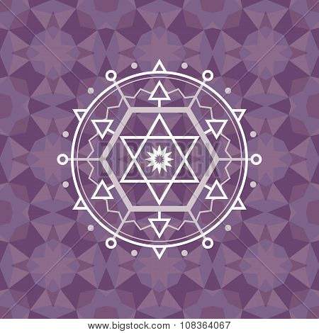 Sacred geometry sign on geometric abstract background. Abstract vector pattern. Mystic badge.