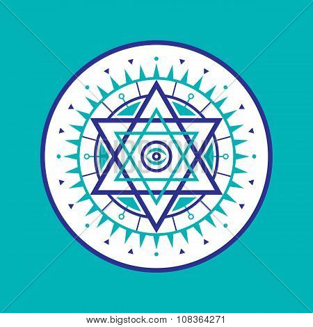Sacred geometry sign. Abstract vector pattern. Mystic vector badge. Hexagon logo. Design element.