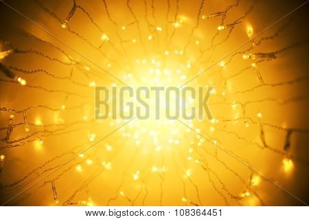 Lights Garland, Abstract Blurred Led Light, Yellow Lighting Bokeh Perspective As Explosion Rays