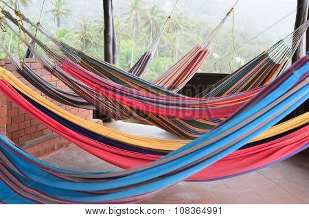 Colorful Hammocks Hanging At The Veranda And Coconut Palm Trees Behind Them