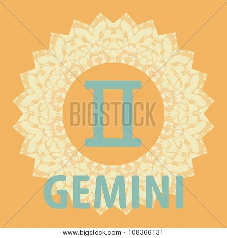 Gemini. Twins. Zodiac icon with mandala print. Vector icon.