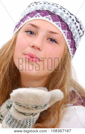 Winter Style Teenage Girl Sending A Kiss To You