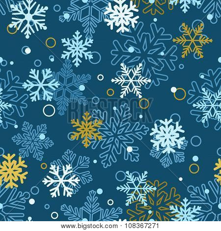 Seamless Pattern Of Snowflakes, Multicolored On Blue