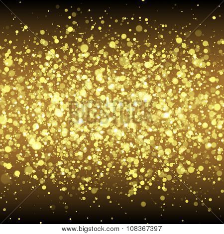 Gold glittering flare sparkles. Spangled stardust background.