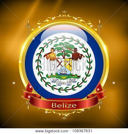 Flag Of Belize In Gold