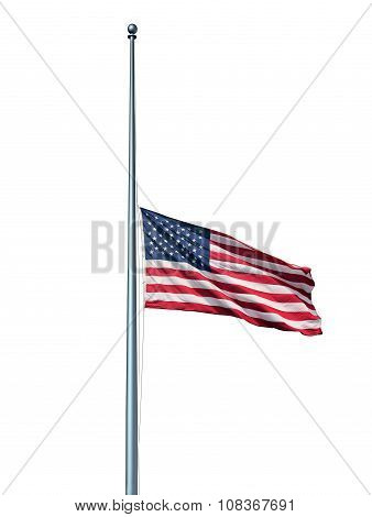 Half Mast Us Flag Isolated