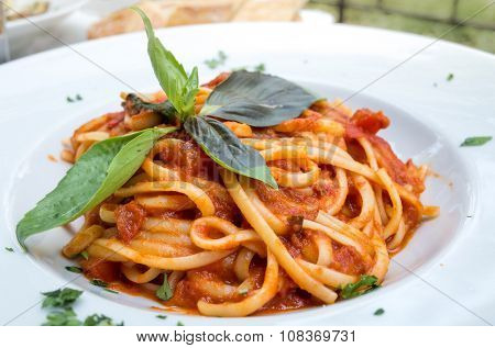 tasty pasta-Italian meat sauce pasta on the table