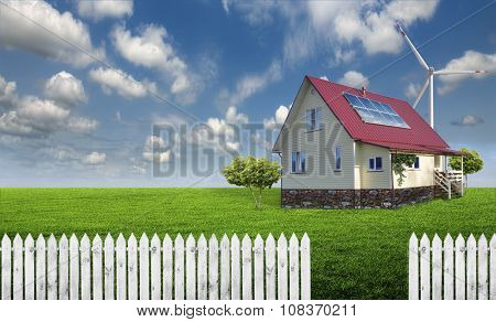 beautiful, eco-friendly house on a meadow