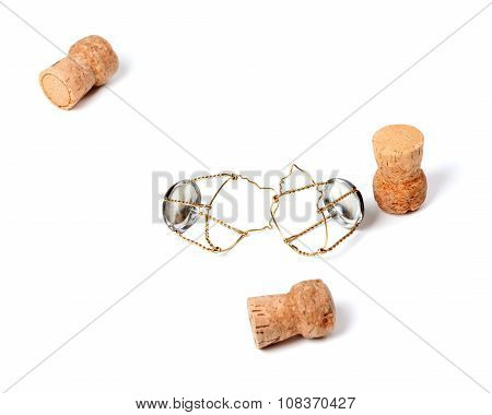 Three Corks From Champagne Wine And Muselets
