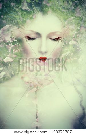 artistic woman portrait, composite photo