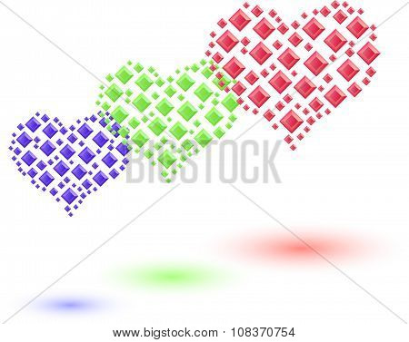 Set Of Colored Hearts Made Of Small  Crystals.