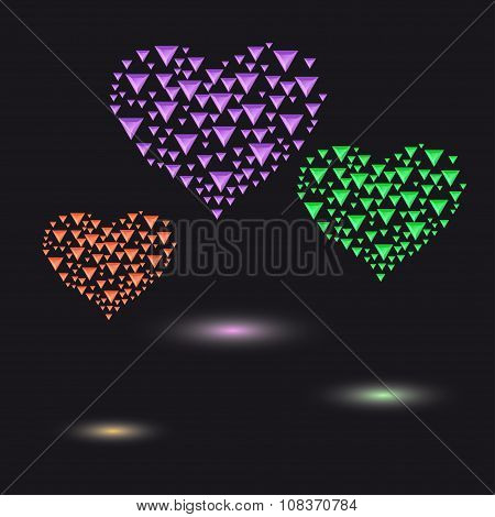 Colored Hearts Made Of Small  Triangular Crystals
