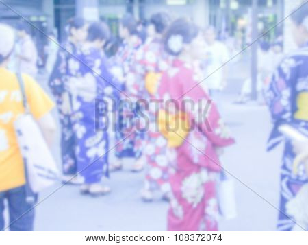 Defocused Background Of Girls In Kimono, Japan.