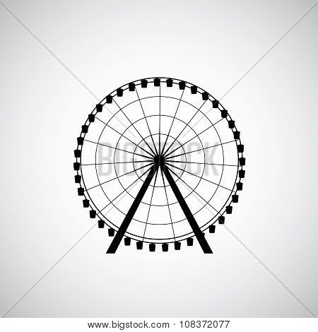 Ferris Wheel From Amusement Park, Vector Silhouette.