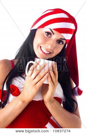 Santa Girl Holding A Cup, Drink. Holidays Christmas And New Year.
