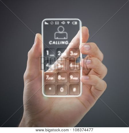 Transparent mobile smart phone in man's hand,  new digital technology concept