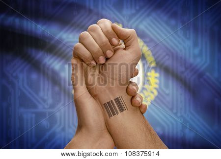 Barcode Id Number On Wrist Of Dark Skinned Person And Usa States Flags On Background - Kentucky
