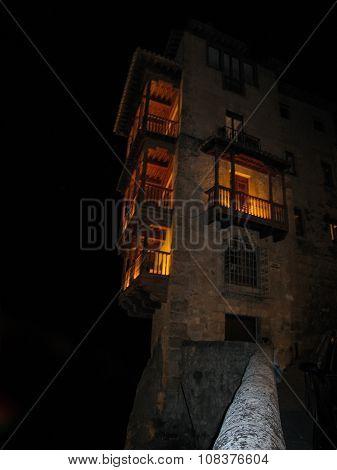 Hanging Houses In Cuenca At Night, Castilla La Mancha, Spain