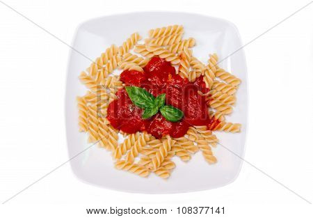 Fusilli With Tomato Sauce On A White Background Seen From Above