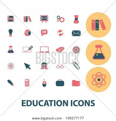 education, learning, study, science, research  icons, signs vector concept set for infographics, mobile, website, application