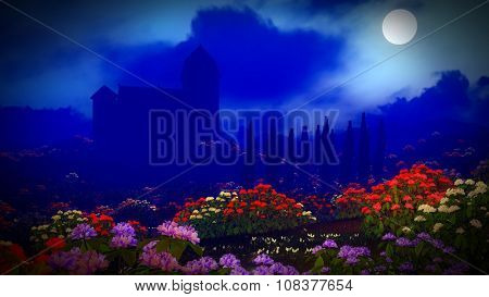Beautiful landscape with flowers and castle