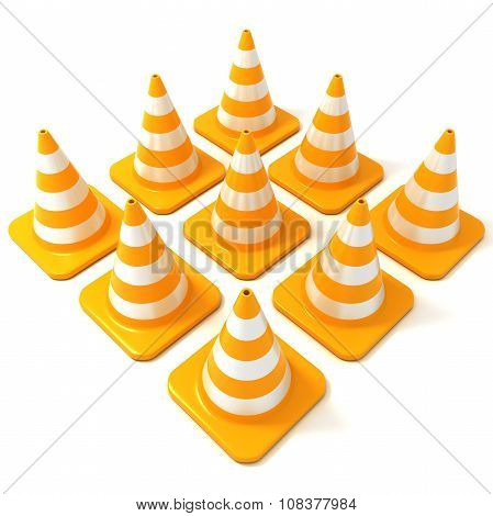 Traffic cones 3D isolated on white
