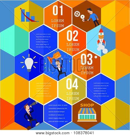 Infographic Element Top View on Hexagons with People and icons.  Vector illustration.