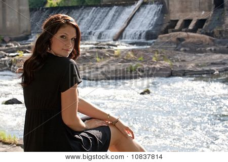Brunette By The River