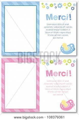 French Thank You Baby Card
