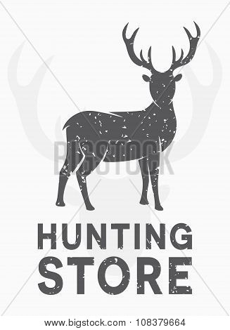 Vector vintage logo hunting and shooting store. Label, poster or t-shirt graphic design