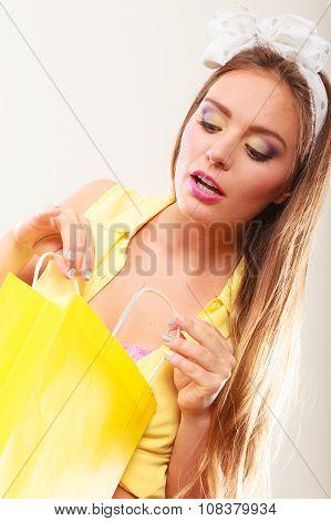 Retro Pin Up Girl Shopping