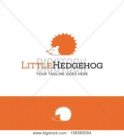 Cute hedgehog logo for creative business, shop or website