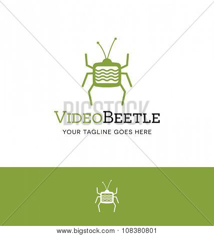 abstract beetle logo with TV body for video related business