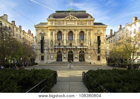 LYON-FRANCE NOVEMBER 14, 2015:  The Theatre des Celestins is a theatre building on Place des Celestins in Lyon, France.  It is one of few theatres with over 200 years' continual usage in France
