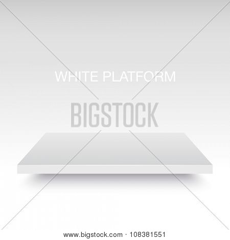 White vector platform stand. Realistic template for your design.