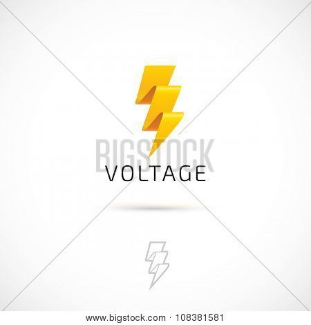 Vector logo design, yellow bolt symbol icon. Logotype template.
