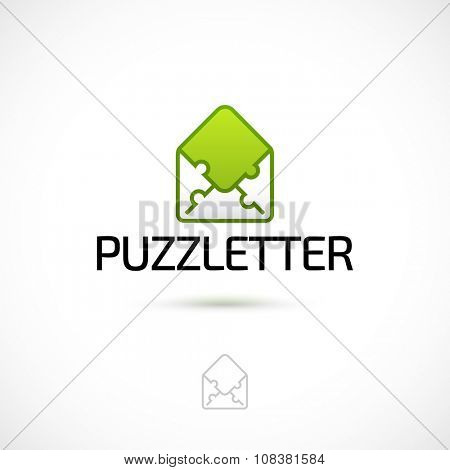 Vector logo design, letter made of puzzle pieces symbol icon. Logotype template.
