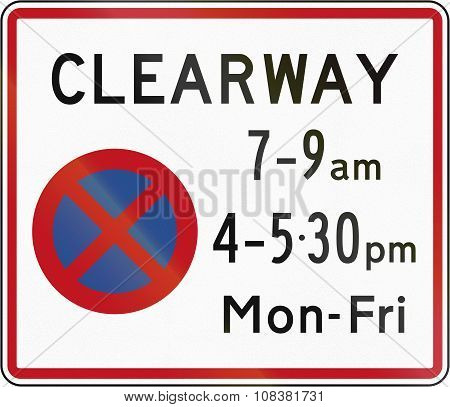New Zealand Road Sign Rp-3.1 - Clearway (no Stopping) During Time Prescribed (two Peak Times)