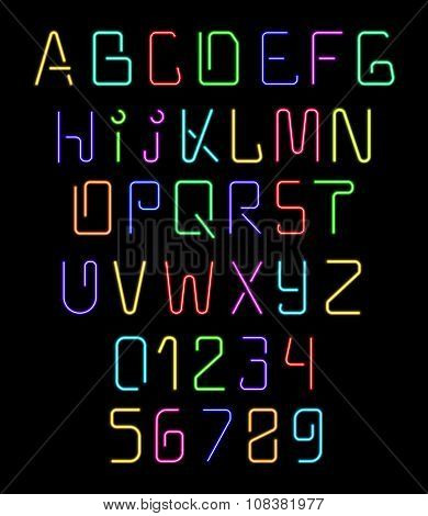 Font neon. Realistic brilliant, fluorescent font for holiday decoration