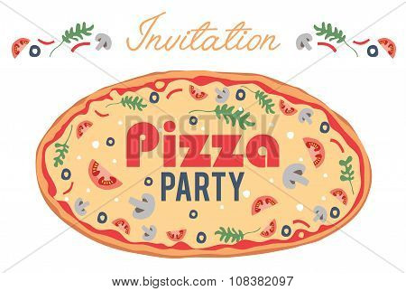 Vector Pizza Party Invitation Poster Flyer Card. Dinner. Social Event. Invite. Italian. Bring Your O