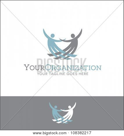 abstract logo with interwoven figures for charity or church