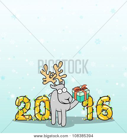 Background with doodle reindeer and Christmas inscription
