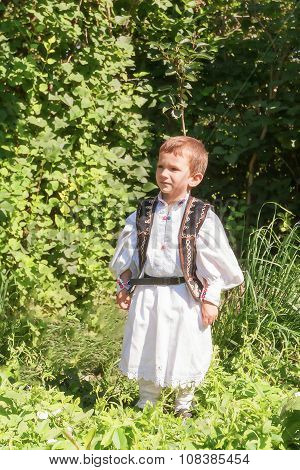 Romanian Child Proud Of His Traditional Costume
