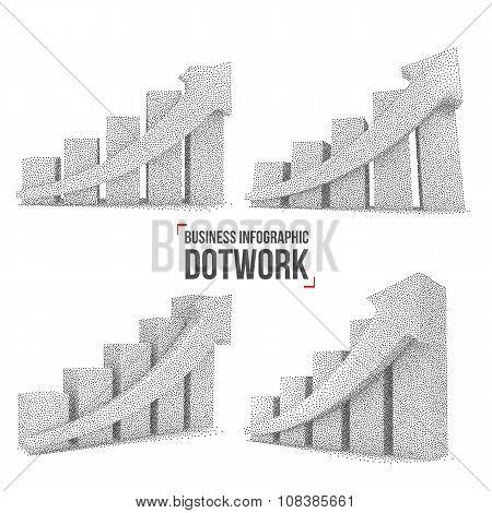 Dotwork Halftone Vector Bar Graph Chart