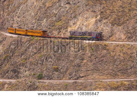 The Train Follows His Zig Zag Journey Around The Mountain