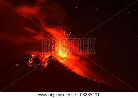 Explosion Of Tungurahua At Night, South America